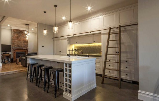 Gallery kitchen style with wine rack